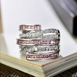 Jewelry - Stamped 925 White and Pink Sapphire Ring